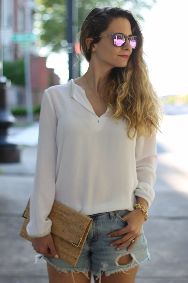 White blouse with cutoff shorts