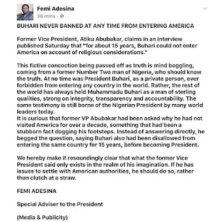 President Buhari banned from entering USA for 15 years. (Femi Adesina speaks up)