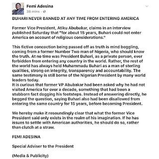 President Buhari banned from entering USA for 15 years. (Femi Adesina speaks up)