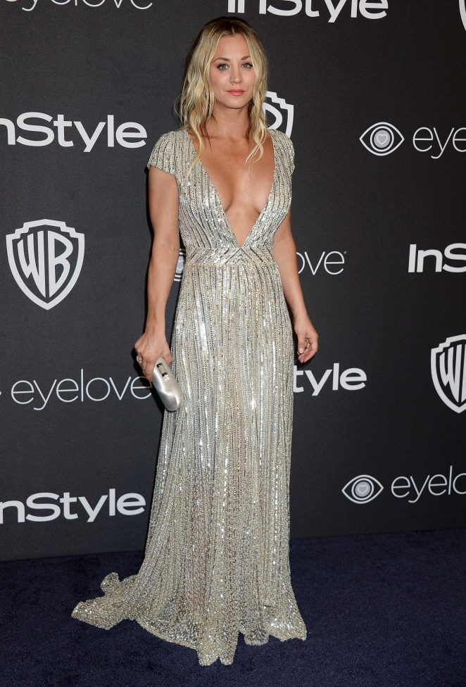 Kaley Cuoco goes busty for the 2017 Golden Globes Instyle and Warner Bros Afterparty in LA