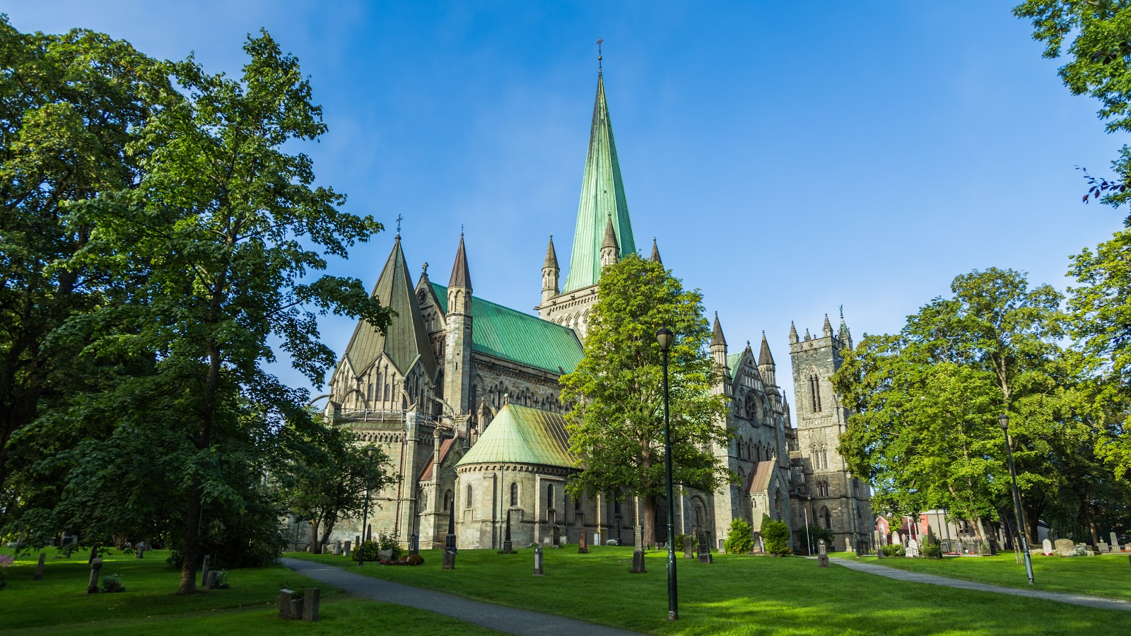 Summertime at Nidaros Cathedral in Trondheim, Norway. Photo: Fotoknoff.no. Unauthorized use is prohibited.