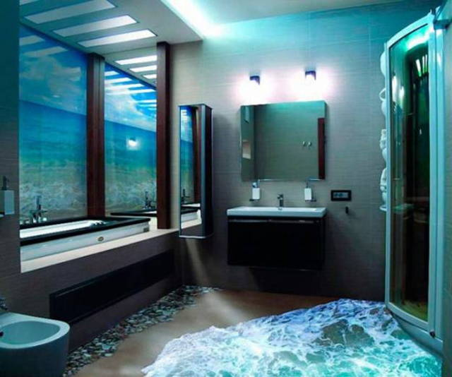 awesome 3d vinyl floor design in bathroom with glass window