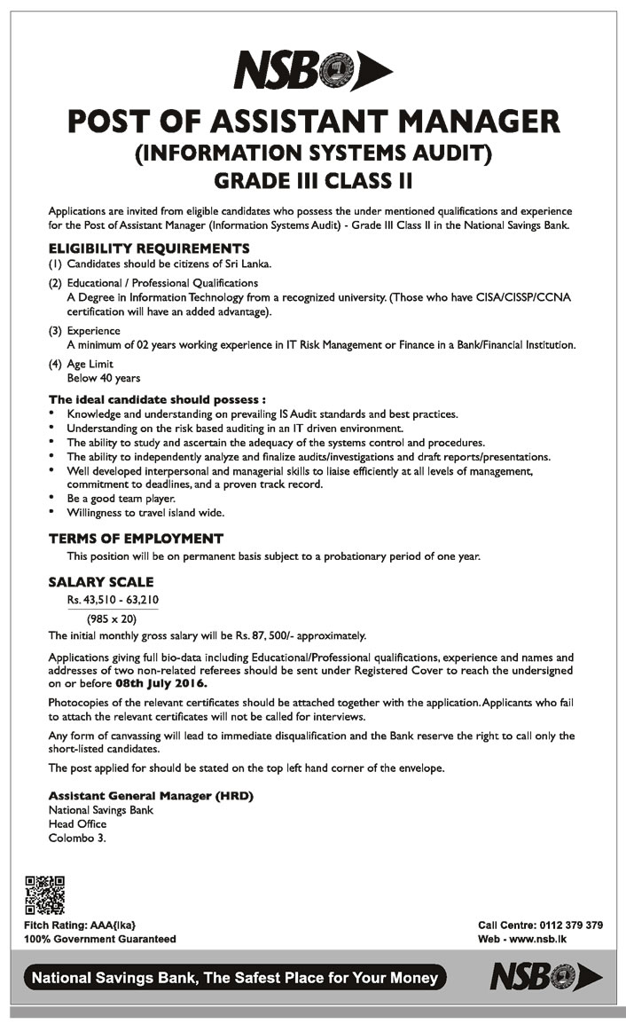 Assistant Manager Information Systems Audit Nsb Sri