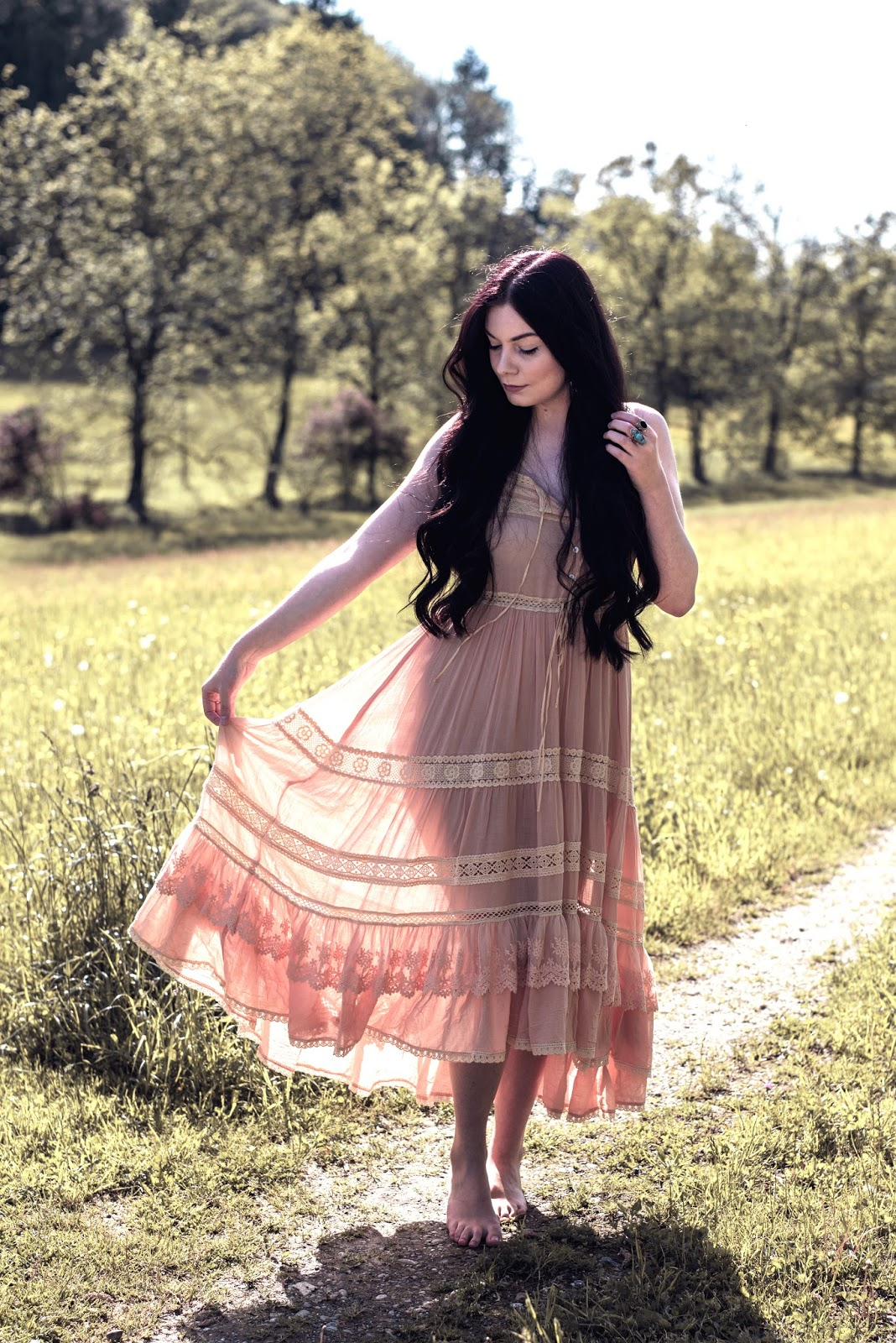 Spell Designs Prairie Lace Sun Dress | Rose Kiara Peaches
