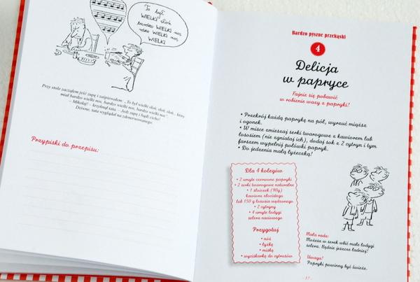 Wnętrze książki, przepis na delicje w papryce