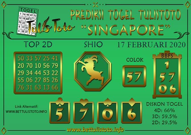 Prediksi Togel SINGAPORE TULISTOTO 17 FEBRUARI 2020