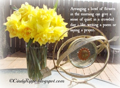 Double Daffodils, Anne Morrow Lindbergh quote, flower arrangement, spring flowers, Florals-Family-Faith, Cindy Rippe