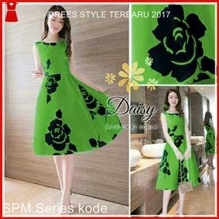1SPM Model Dress Hijau Cerah Wanita Modern Bj5001