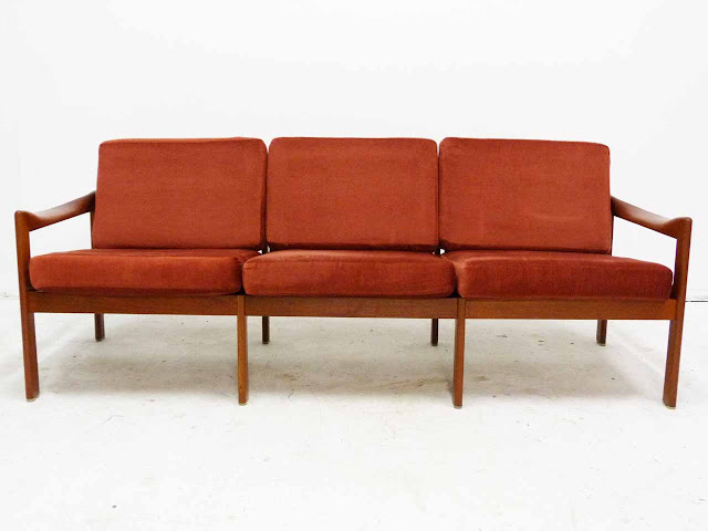 Teak Three-Seater Sofa by Illum Wikkelso Danish Modern Front
