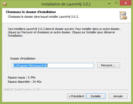 Choix du dossier d'installation de Launch4j