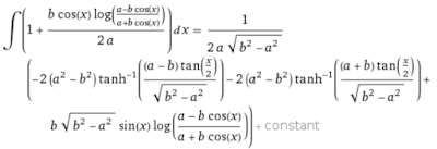 An integral from WolframAlpha.