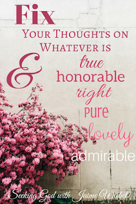 And now, dear brothers and sisters, one final thing. Fix your thoughts on what is true, and honorable, and right, and pure, and lovely, and admirable. Think about things that are excellent and worthy of praise. Philippians 4:8 (NLT)
