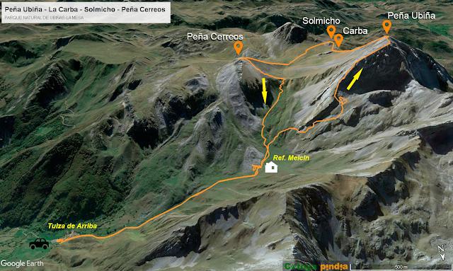 Mapa de la ruta a Peña Ubiña por la Este, a la Carba, Solmicho y Peña Cerreos por la Oeste.