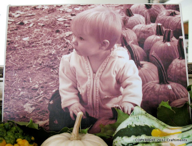 First pumpkin patch visit photo decoupaged to canvas