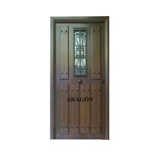 Puerta rustica Aragon con ventana
