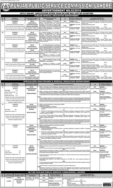 PPSC Jobs 2019 For Special Education Department - Advertisement No. 02/2019