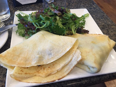 Mushroom, asparagus and goat cheese crepes at Jolane's