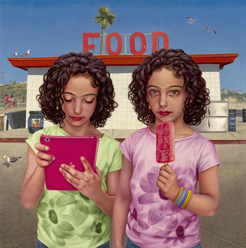 "por Alex Gross - ""Food"", 2014."