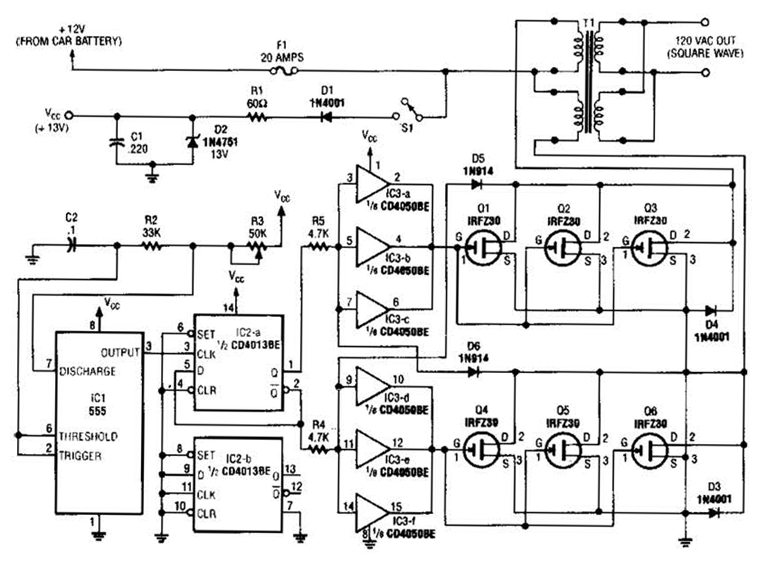 12v Input Simple Inverter Circuit Diagram Tradeoficcom