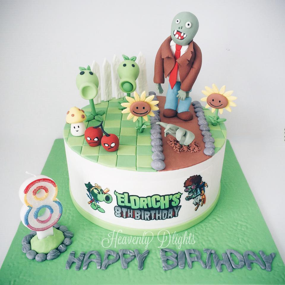 Heavenly Dlights Plants Vs Zombie Birthday Cake For Eldrich