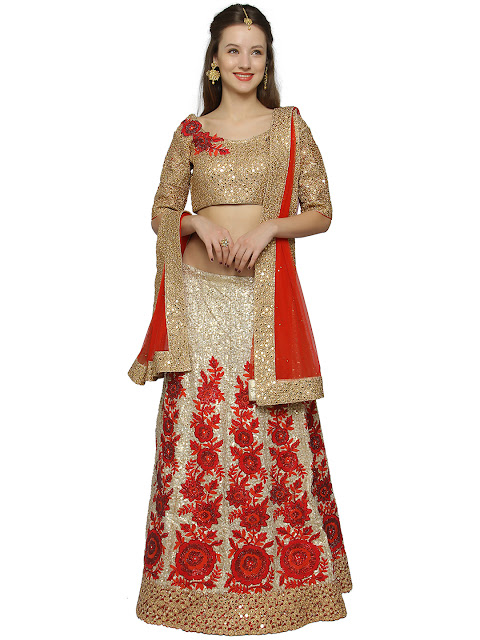 Silk Wedding Lehenga Myntra