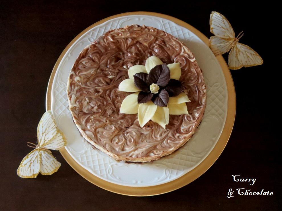 Tarta de queso con chocolatinas y caramelo