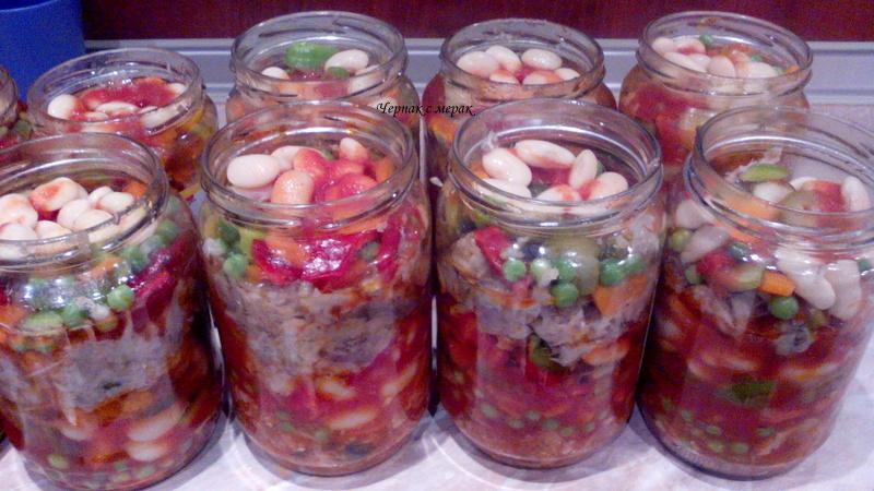 Риба консерва със зеленчуци