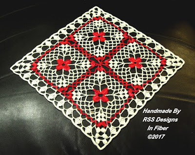 "Bright Fiesta Red Flowers in White Lace Doily - By RSS Designs In Fiber - Displayed as a Diamond Shape in ""Handmade Finds Painting The Town Red"""