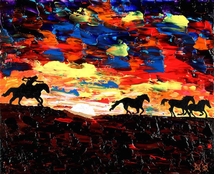 Pintor deficiente visual utiliza toque em texturas para criar belas imagens
