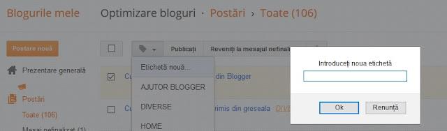 Creare si adaugare etichete in Blogger