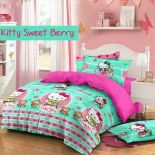 Sprei Kitty Sweet Berry Tosca bahan star terbaru
