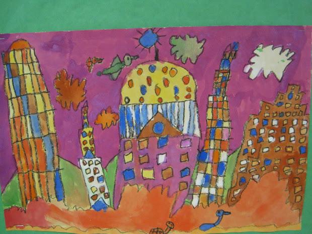 Zilker Elementary Art Class 2nd Grade Cityscape Paintings