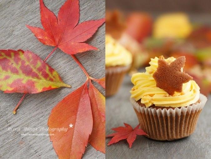 Herbstblätter Kekse aus Tuile als Deko für Herbst Cupcakes