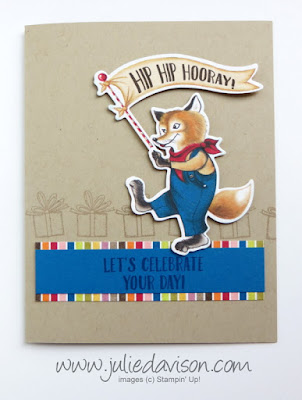 Stampin' Up! Birthday Memories Die Cut Fox Card ~ Birthday Delivery ~ 2017-2018 Annual Catalog ~ www.juliedavison.com
