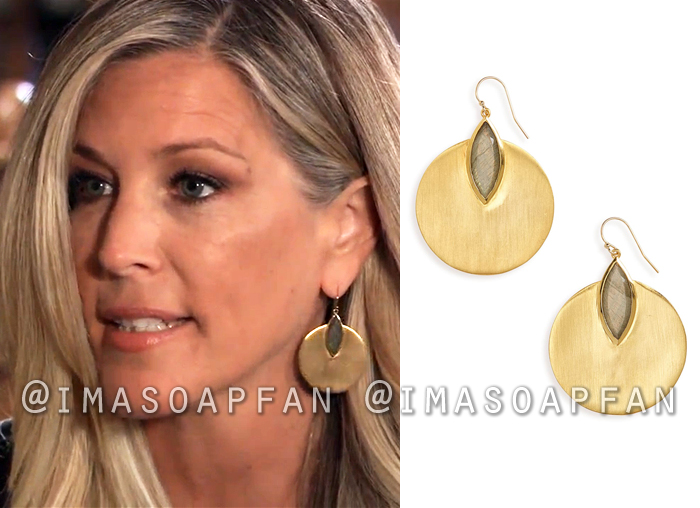 Carly Corinthos, Laura Wright, Gold Disc and Labradorite Stone Drop Earrings, General Hospital, GH