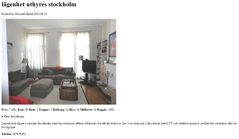 wohnungsbetrug blogspot com lägenhet uthyres stockholm Insänd av Mostafa Björk fraud bedrägeri