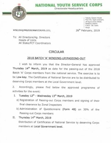 NYSC: Date for 2018 Batch 'A' POP Announced
