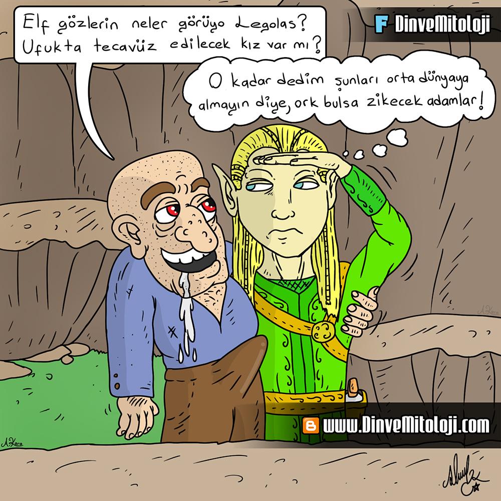 A, karikatür, dini karikatür, Legolas, Legolas'ın elf gözleri, Orta dünyada olsaydık, Müslümanız denen ülkede tecavüz vakalarının artışı, Yüzüklerin efendisi karikatür, Legolas karikatürü,