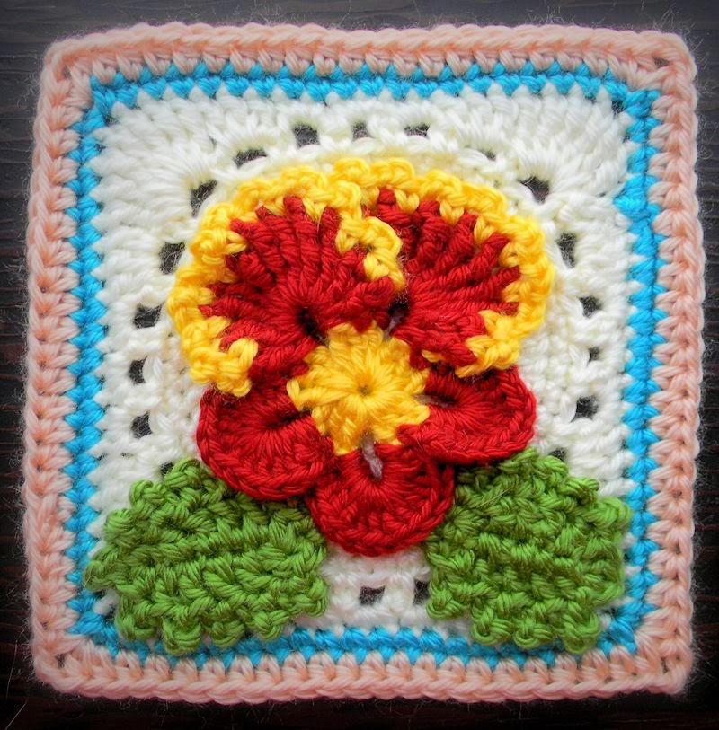 Crochet Pattern - Pansy Granny Square