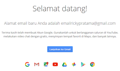 ucapan selamat datang di akun email baru anda