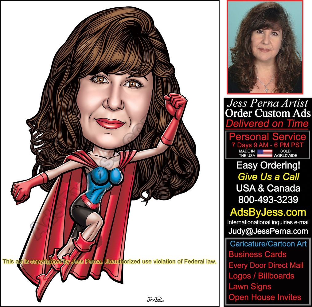 How to order ad cartoons and caricatures real estate superhero real estate superhero female business card ad reheart Image collections