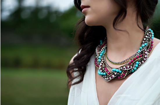 Bigiotteria per la sposa, statement necklace, collana per la sposa boho, gioielli per la sposa colorati