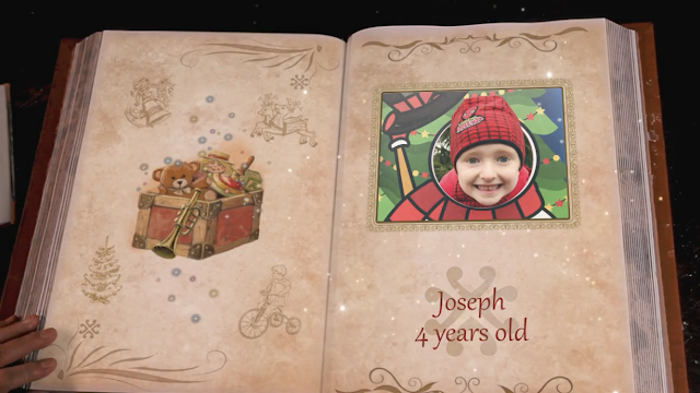 A picture of a little boy in a book showing with his name and age