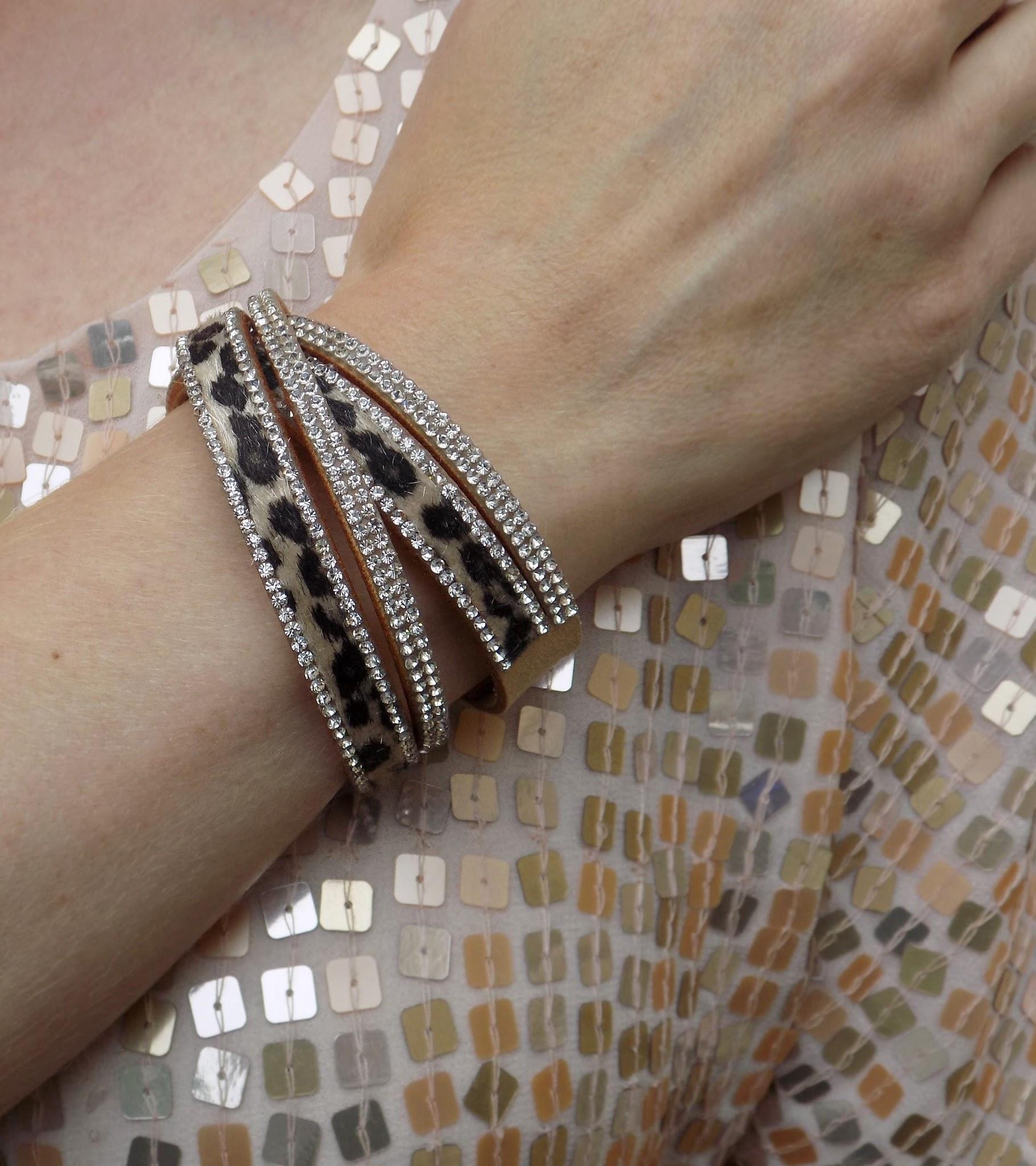 Leopard print and diamant wrap bracelet