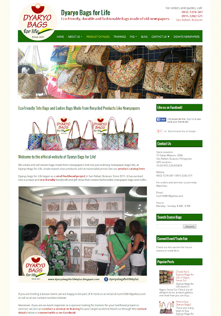 Dyaryo Bags for Life is a small, local business in San Rafael, Bulacan. It is established in 2011 by my mother, Luzviminda Madriñan. Dyaryo Bags for Life offers a wide variety of eco-friendly bags woven and made from newspapers.