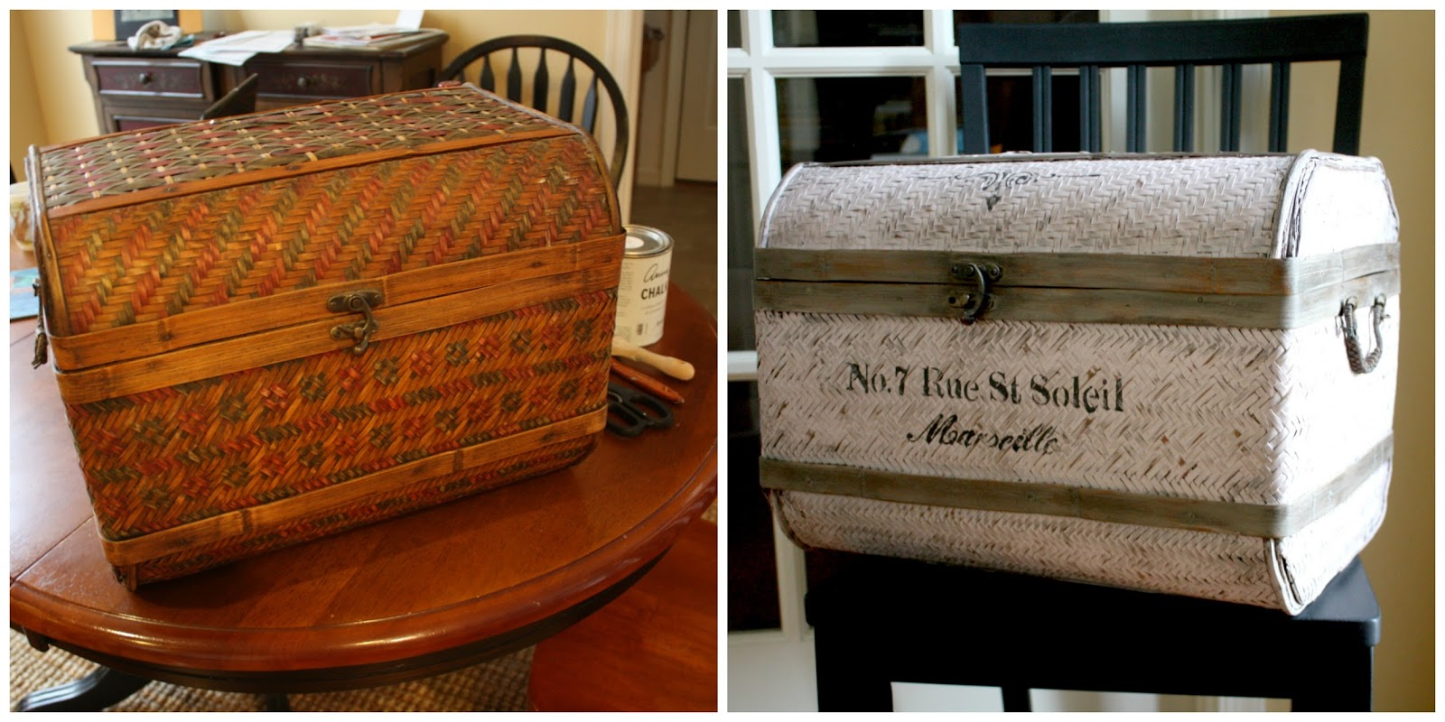 Decorative trunk before and after