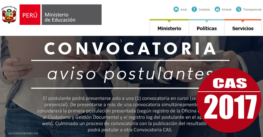 MINEDU: Convocatoria CAS Abril 2017 - Puestos de Trabajo en el Ministerio de Educación (Inscripción hasta el 21 Abril) www.minedu.gob.pe