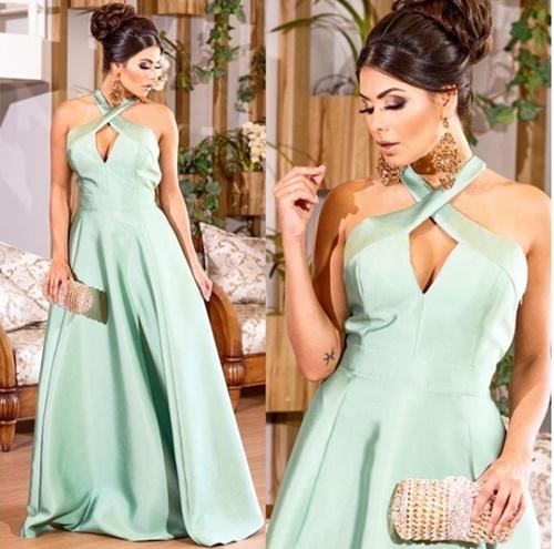 vestido de festa longo verde com saia ampla