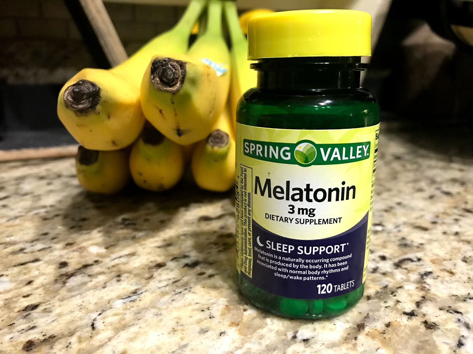 Image: Melatonin, on kitchen counter. Woman using in her weekend bits and favorites to relax