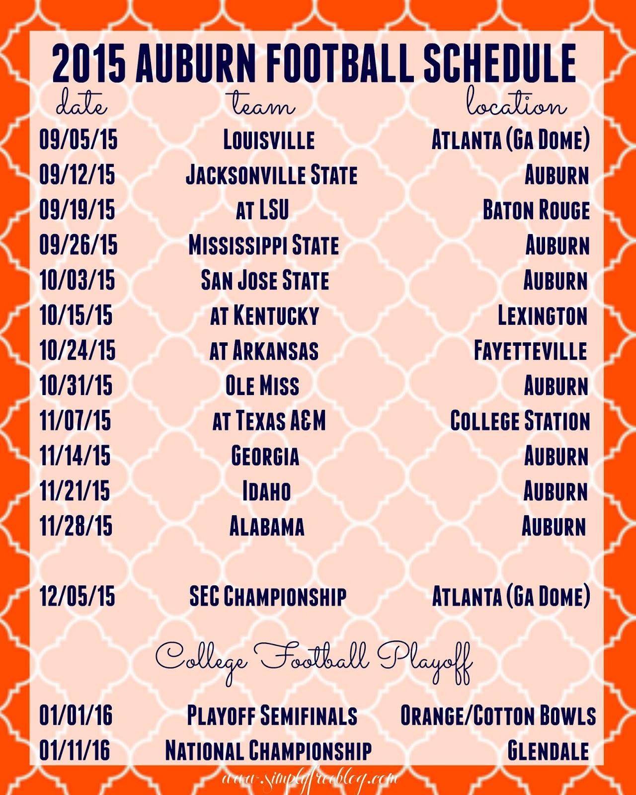 2015 Auburn Football Schedule | Freebie - Simply Elliott
